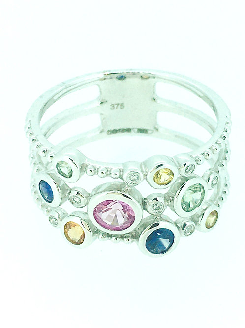 Multi Sapphire gold ring