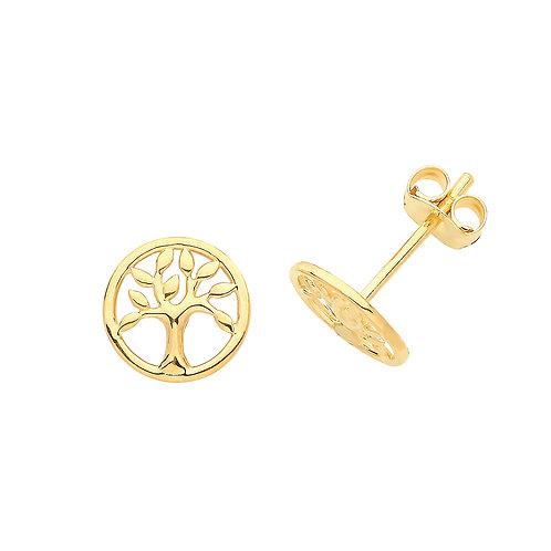 Tree of Life Gold stud earrings