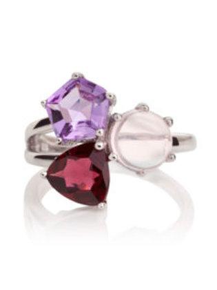 Kintana amethyst, rhodolite and rose quartz silver ring