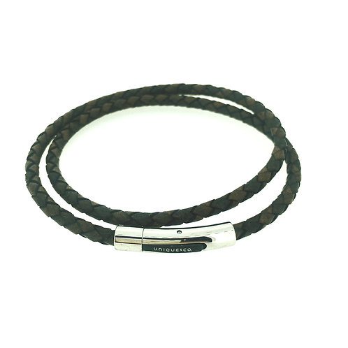 Brown Double strand Leather bracelet with steel clasp