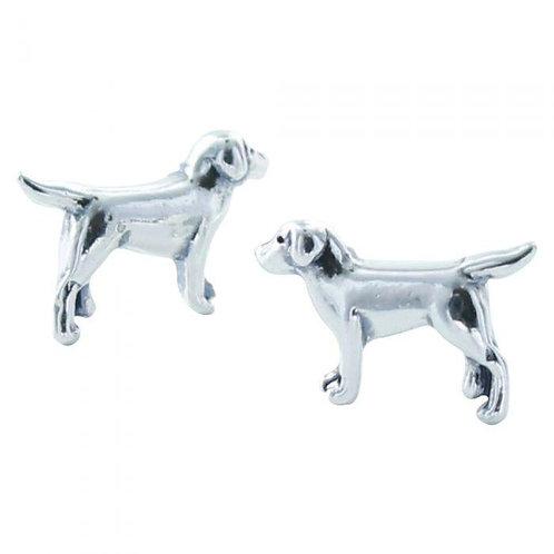 Dog silver stud earrings