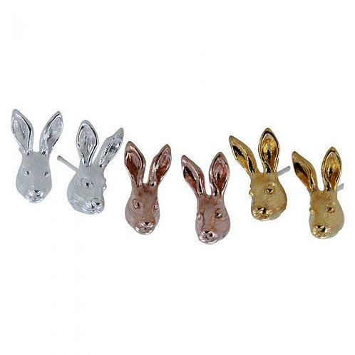 Hare sterling silver studs