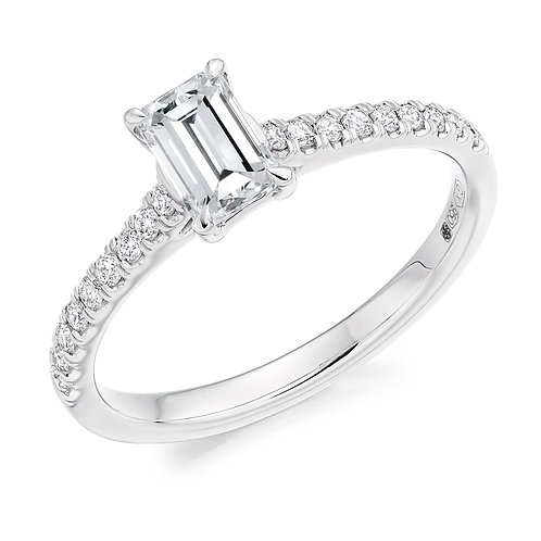 Emerald cut diamond ring with diamond shoulders