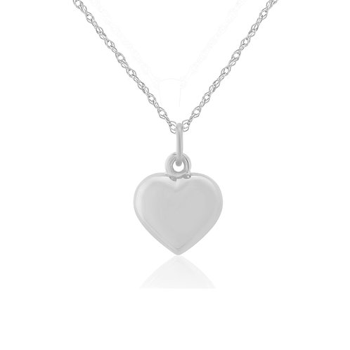 Small Puffed Heart white gold pendant