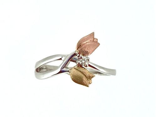 Tulip and Diamond Twist ring