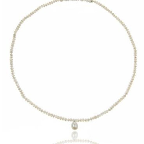 White Seed Pearl with drop necklace