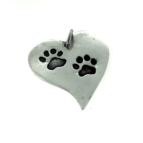 Silver Precious paws Large Melting Heart pendant