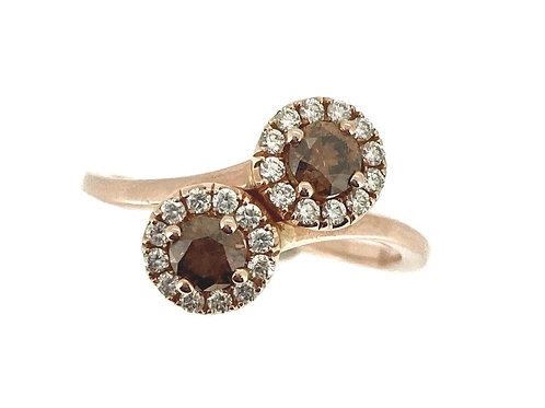 Chocolate Diamond double halo Rose gold ring
