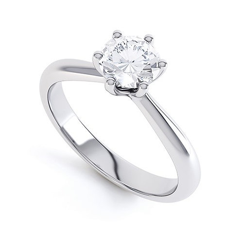 6 claw diamond solitaire ring