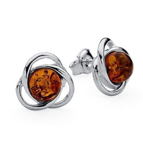 Celtic style Amber stud earrings