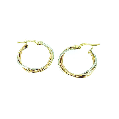 Tri-colour Gold Twisted hoop earrings