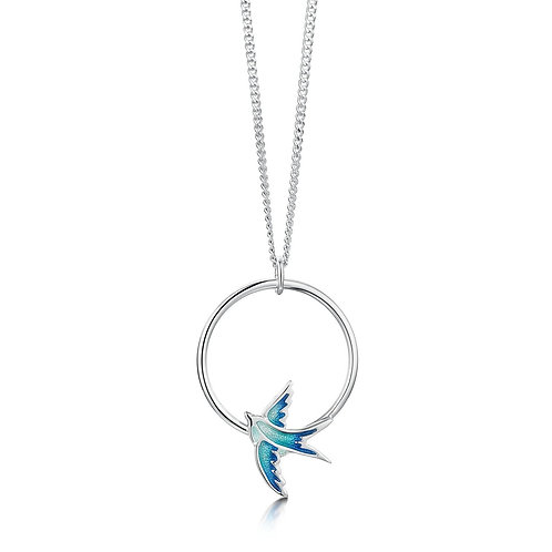 Swallows One Hoop pendant in summer blue
