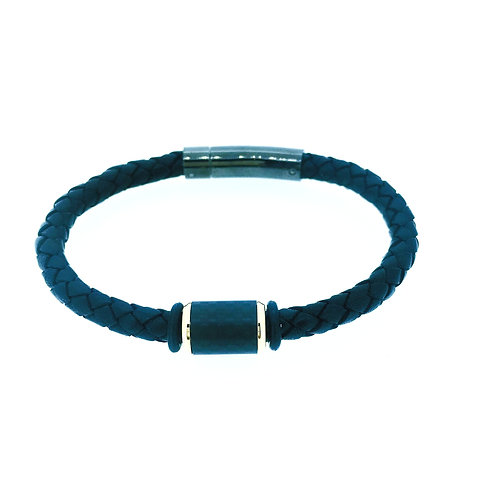 Black Leather bracelet with carbon fibre bead and rose gold plate