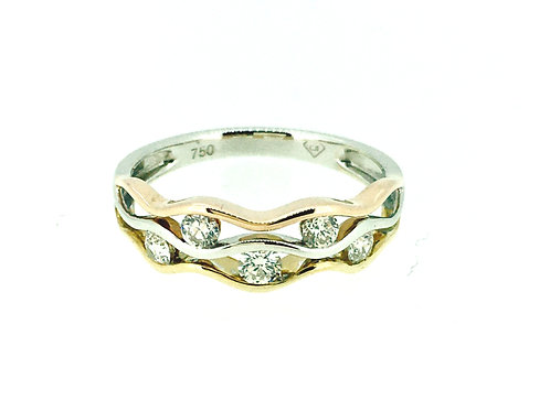Wave Three Colour Gold and Diamond ring