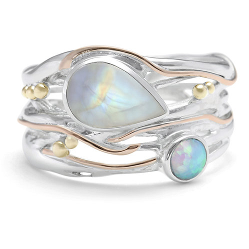 Moonstone and Opalite statement ring