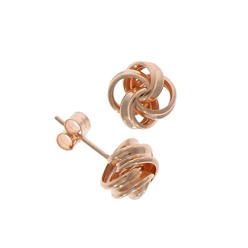 Rose gold ribbon loop knot stud earrings