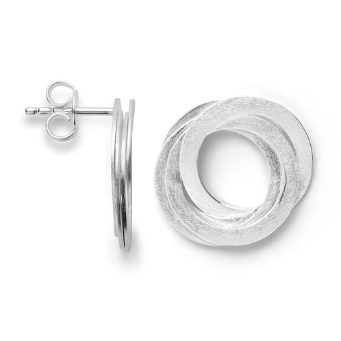 Layered circle silver stud earrings