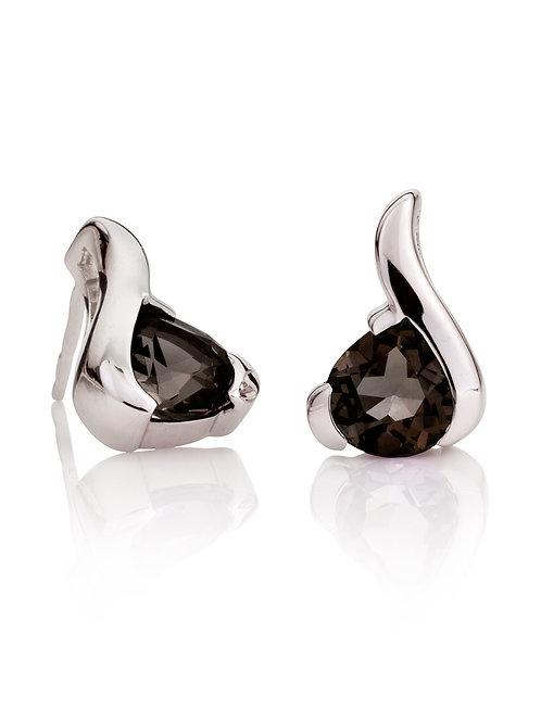 Sensual Smoky Quartz silver earrings