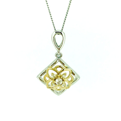 Diamond and bicolour gold necklace