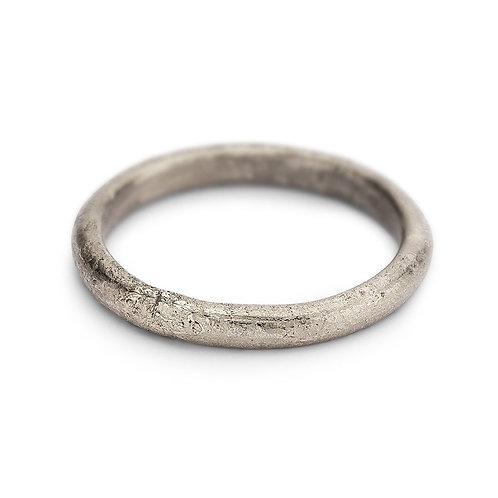 Half round textured wedding bands - 2.5mm 9ct white