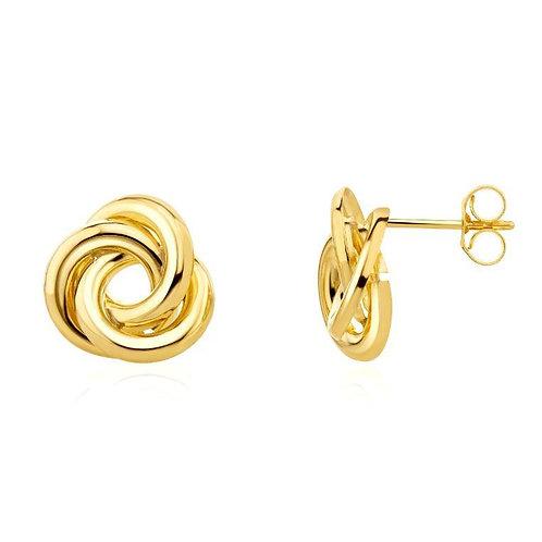 Gold Flat Loop Knot stud earrings
