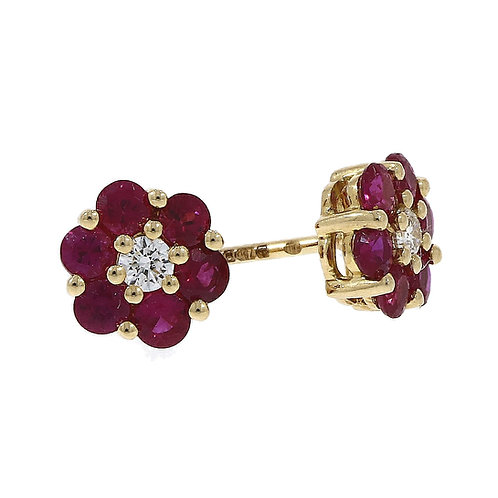 Ruby and Diamond Reverse Cluster 18ct Yellow Gold stud earrings
