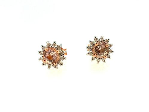 Morganite and Diamond halo Rose gold earrings