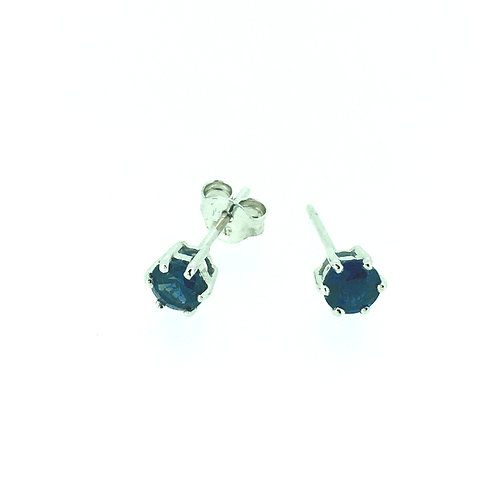 Blue Sapphire white gold small stud earrings