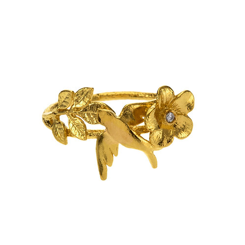 Swallow & Leaf Ring with Diamond Set Flower