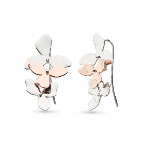 Blossom Petal Bloom Trio Rose Gold Plate Drop Earrings