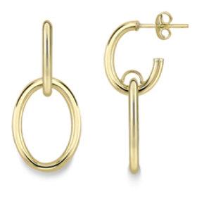 Double Oval Gold Drop earrings