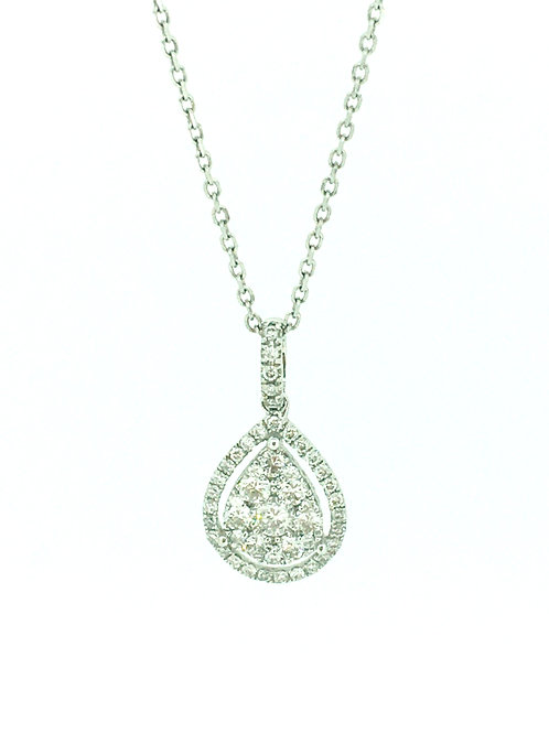 Diamond Teardrop white gold pendant