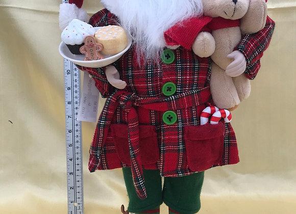 Santa with Teddy Bear and Snack