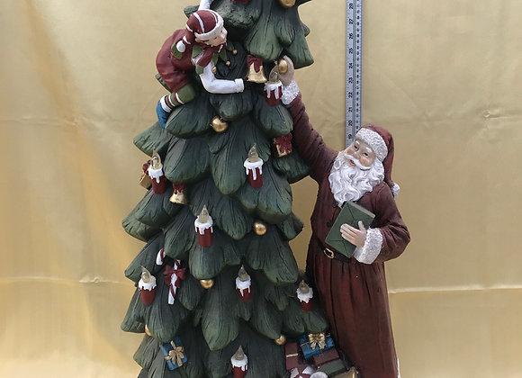 Santa Decorating the Tree with Tree Lights