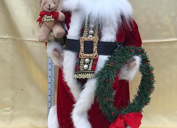 Santa with Teddy Bear and Wreath Velvet Coat.