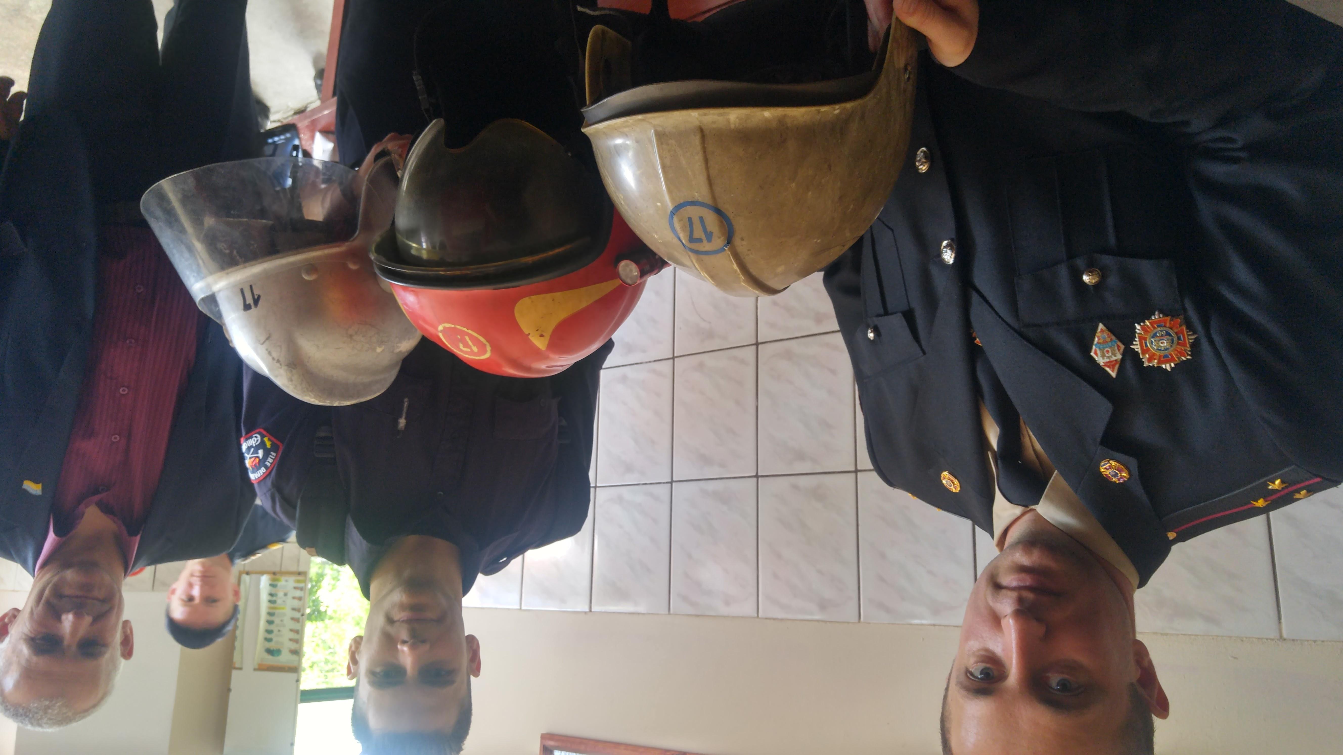 inspecting helmets