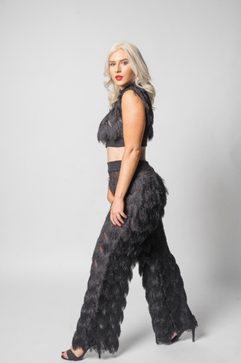 Black Fringe two piece