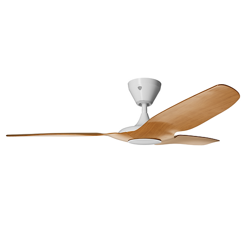 "Haiku 52"" L-series DC Fan, Caramel, White Stem, with Integrated Dimmable LED"