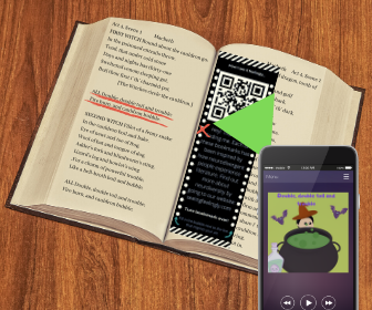 Pictured is how people discover a bookmark in a text. First, someone makes a bookmark with a QR code that leads other people to art they have created. Second, the maker of the bookmark places the bookmark in the book with a checkmark next to the line that inspired their art. Lastly, someone finds the bookmark and scans the QR code with the camera app on their phone, revealing the art.