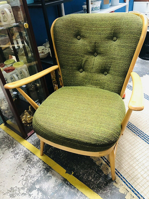 Ercol blonde vintage easy chair fully reupholstered