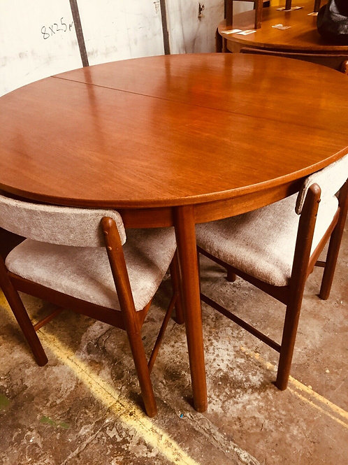 MCINTOSH  MID CENTURY TEAK  TABLE AND 4 CHAIRS REUPHOLSTERE
