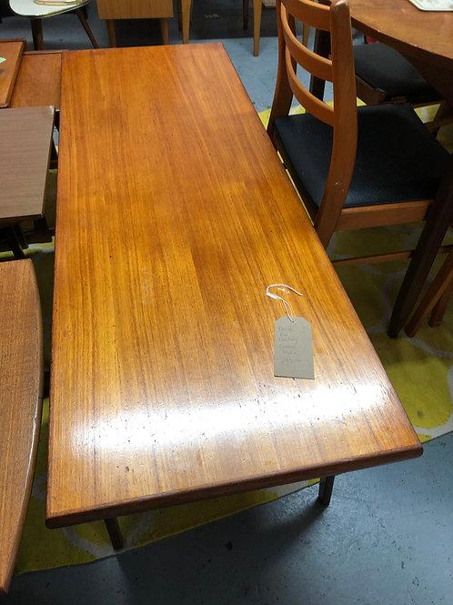 DANISH MID CENTURY MODERN TEAK LONG JOHN COFFEE TABLE 1960S MINIMALIST STYLE