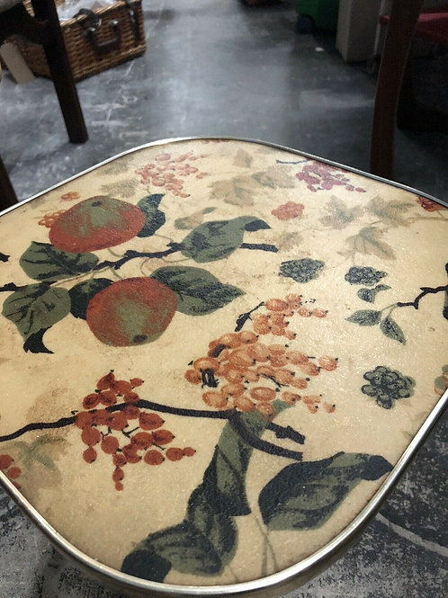 1960s mid century plantstand occasional table atomic legs floral formica top