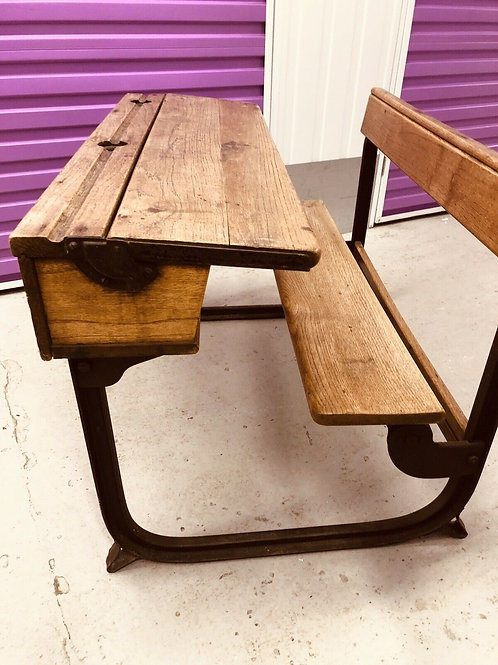 ANTIQUE CHILD DOUBLE DESK AND BENCH SET EARLY 1920's SOLID OAK