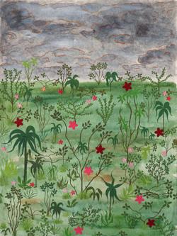 Gabriela Valls Schorr, Medow, 39 x 29 cm, Mix media on handmade paper, 2016
