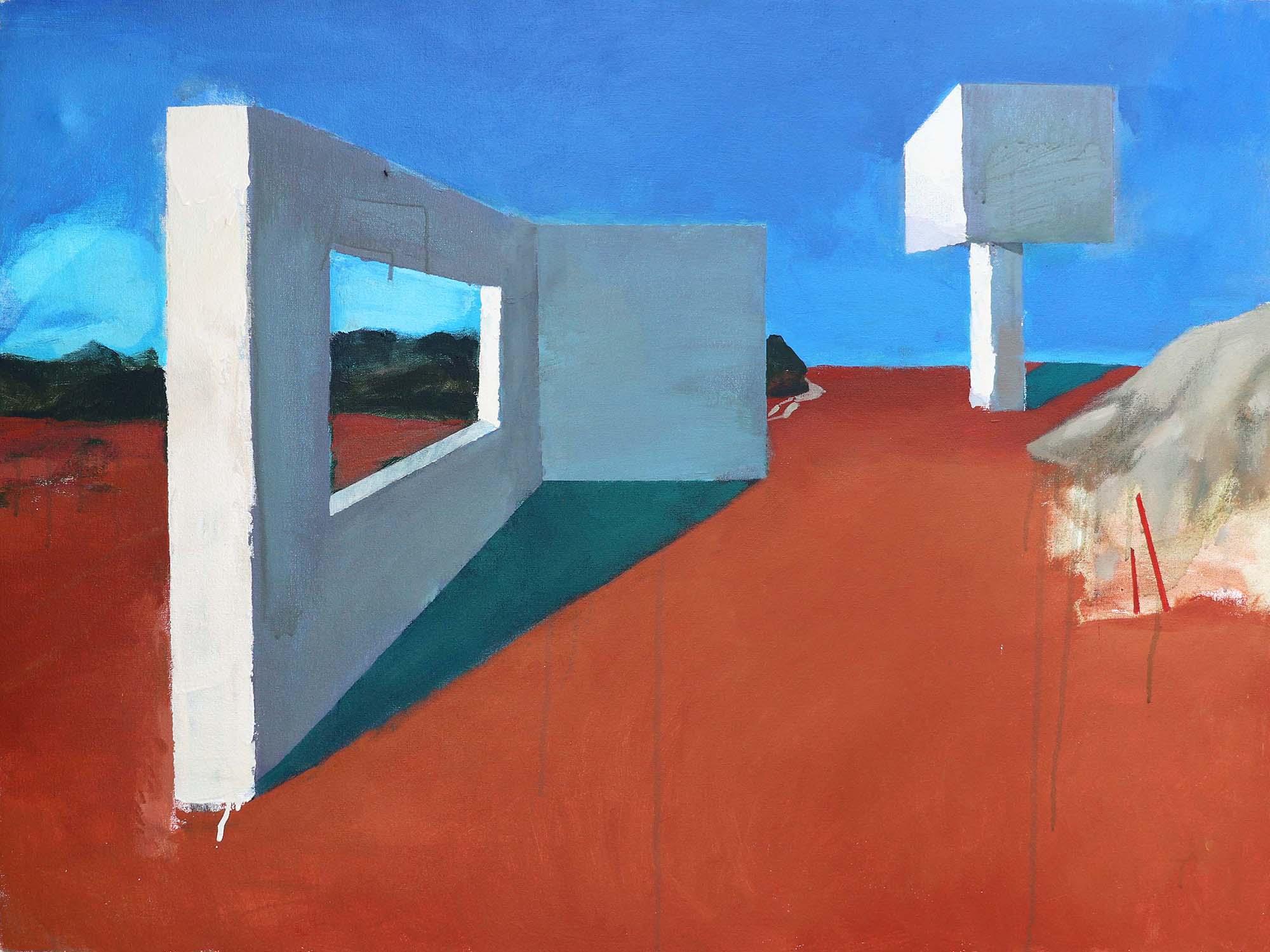 Katerina Buchatska, Hebdomeros had to flee Part 1, Acrylic on canvas, 75 x 100 cm, 2018