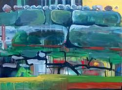 Jana Bendarova, Stones of Mawlynnong, Acrylic on canvas, 80 x 100 cm, 2016