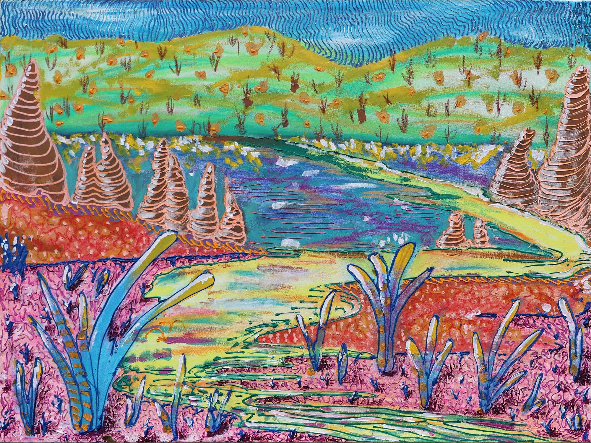 Christophe Riva, Land, Acrylic on Canvas, 75 x 100 cm,2019