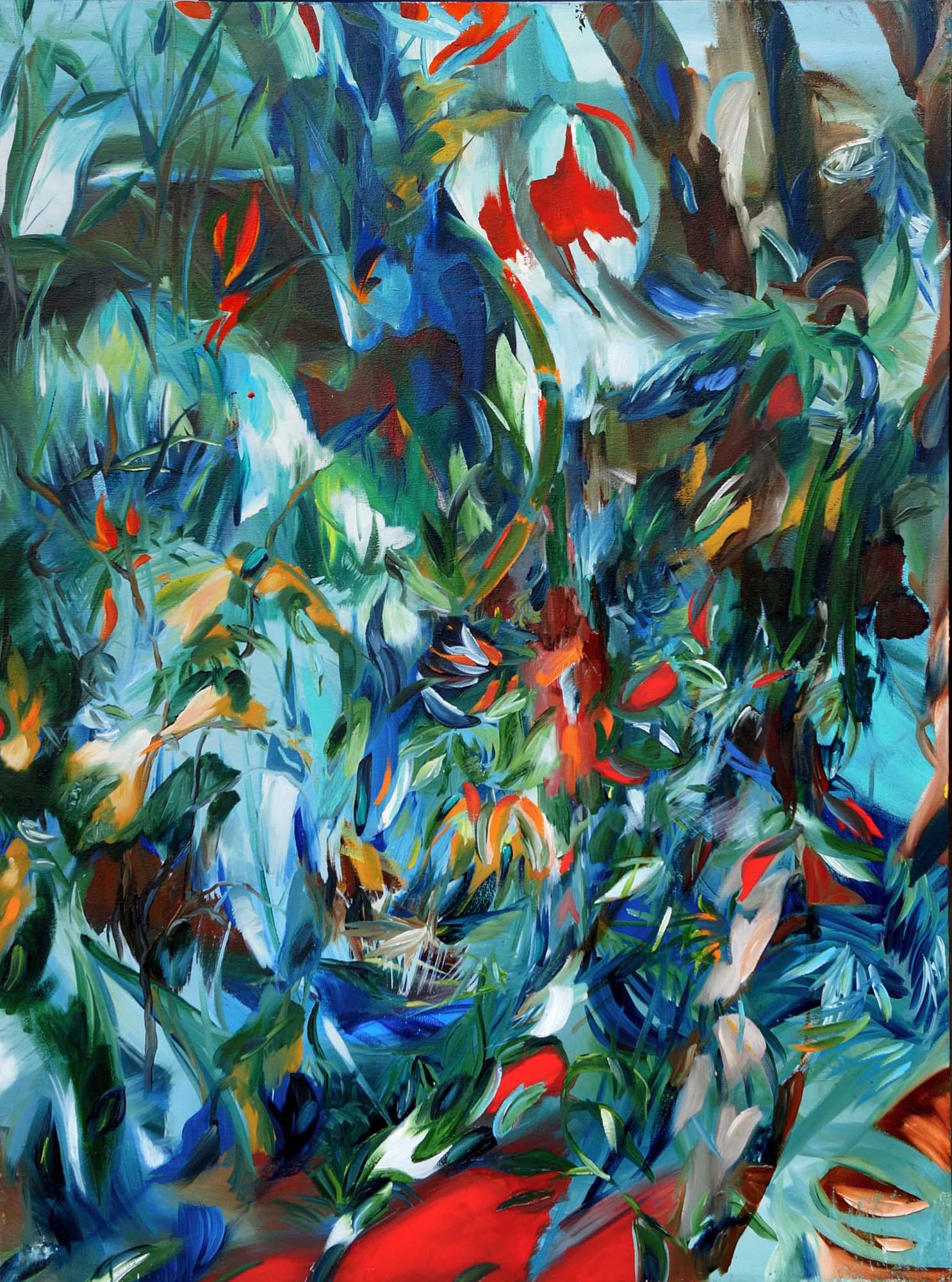 Barbora Chlastakova, Sacret Forest 1, Acrylic on canvas, 100 x 80 cm, 2016