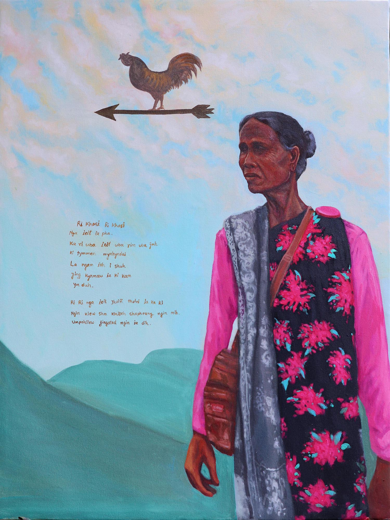 Md Imtiaj Islam, Ri Khasi, Acrylic on canvas, 100 x 75 cm, 2019